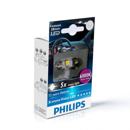 Philips 128596000KX1 Festoon - Bombilla LED C5W decorativa de exterior, color azul