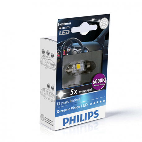 Philips 129466000KX1 X-treme Vision - Bombillas LED (43 mm, 6000 K, 12 V, 1 unidades)