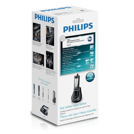 Linterna de taller led portátil lámpara recargable RCH30 con base Philips RCH30